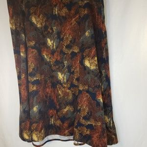 CJ Banks 24W Rustic Floral Sueded Maxi Skirt elast